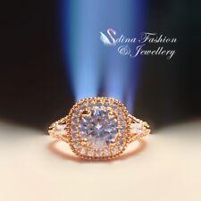 18K Rose Gold Plated Simulated Diamond Round 1.5 ct Side Stone Wedding Halo Ring