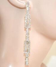ORECCHINI cristalli ORO pendenti lunghi donna  strass eleganti cerimonia L10