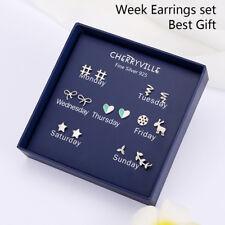 7Pairs/Box One Week 925 Sterling Silver Needle Earrings Ear Studs Jewelry GiRSDE