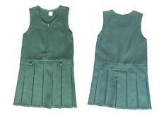 GIRLS FRONT ZIP 2 BUTTON BOX PLEAT PINAFORE UNIFORM SCHOOL DRESS