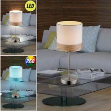 DESIGN LED Lampe de table bois Lampe Chambre à coucher nuit lumière tissu beige