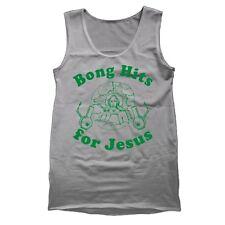 Bong Hits For Jesus Funny  Put  Humor  Marijuana Gray Tank Top