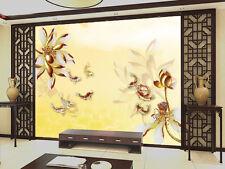 3D Golden Lotus Plant 638 Wall Paper Wall Print Decal Wall AJ WALLPAPER CA