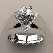 Women Men 925 Silver Heart Fashion Ring White Topaz Wedding Bridal Gift Size5-10