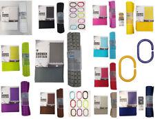 Bathroom Plain Shower Curtain & Mat Inc 12 Matching Rings 10 Colours Anti Mould