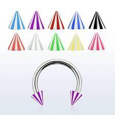 Surgical Steel Circular Barbell Acrylic Cones Horseshoe LIp Ear Eyebrow Bar