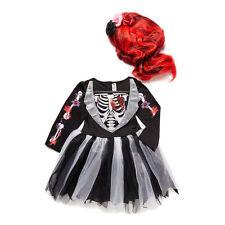 Halloween Aterrador Esmoquin chica con Rojo Peluca Disfraz Vestirse esqueleto H16