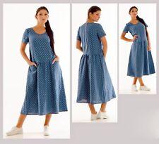 POLKA DOT LINEN DRESS  MID-CALF EUROPEAN NAVY DRESS Pocket Summer Loose Dress