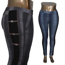 Leggings Hose Jeans-Look High Waist hoher Bund Waschung Jeggings Jeansleggins