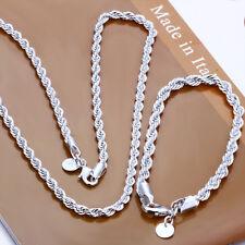 925Sterling Silver 4MM Wrest Rope Chain Men Women Necklace Bracelet Set SY051