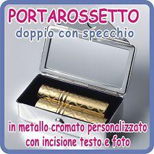 PORTA ROSSETTI  con SPECCHIO in Silver Plated  PERSONALIZZATO con INCISIONE!!!
