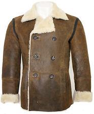Men's Tan Rust Double Breasted Real Sheepskin Pea Coat