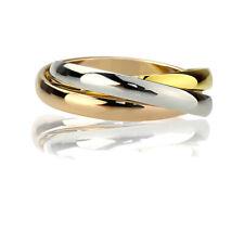 Women Stainless Steel 3 Tone Trinity Interlocking Wedding Band 3MM Domed Ring