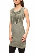kurzes Jerseykleid Fransen Kleid Mini Freizeitkleid AjC Slim Fit Rundhals SALE