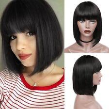 Full Wig Peruvian Human Hair Natural Short Straight Bob Hair Neat Bangs Black