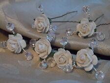 6 Rose Pelo Pins Perlas Cristales Bridal Accesorio Boda Novia 30 + Colores