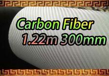 CARBON FIBER White Wrap Vinyl Sheet Sticker 1.22m*300mm