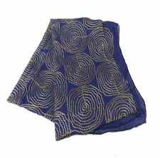 Sciarpa donna blu stola con disegni geometrici filo ricamo ruggine cotone seta