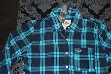 HOLLISTER Damen Bluse Blau Weiß oder Navy Hellblau Größe M Neu mit Etikett