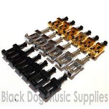 Quality set of 6 strat guitar bridge saddles in chrome, black or gold