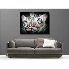 Tableaux toile déco rectangle tigron blanc 124578565