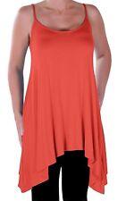 Womens Casual Sleeveless Plain Spaghetti Strap Thigh Length Blouse Tunic Top