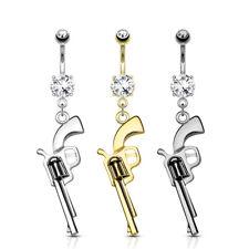 Set Surgical Steel Belly Button Ring Gun Dangle Navel Piercing Cz Prong