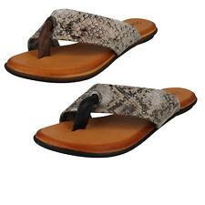 Ladies Leather Collection Toe Post Flip Flop Sandal Snake Print F0R0128