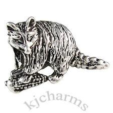 Wholesale 10pcs Raccoon Animal Silver European Bracelet Spacer Charm Beads W#644