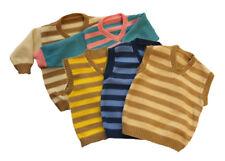 V-Neck Sweater 100% Merino Wool baby toddler child knitted striped vest jumper