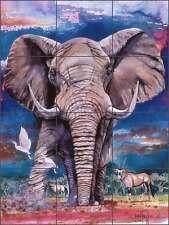Ceramic Tile Mural Kitchen Backsplash Taylor Elephant Wildlife Animal Art JTA034
