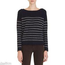 NWT $285 VINCE Wool Cashmere Breton Striped Lurex Sweater Size XS