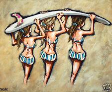 surfing surf board girls funky australia coa beach art painting by andy baker