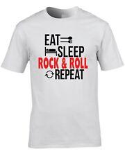 Rock And Roll Música Camiseta Eat Sleep REPETIR Idea Regalo Rocker estilo 50's