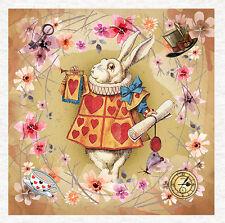 Alicia en el país de las Maravillas, tapicería textil, Conejo Blanco Floral Panel Craft