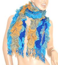 SCIARPA scaldacollo donna BLU CELESTE ORO scarf écharpe шарф schal bufanda 30