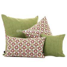 DOUX tissé chenille blanc rose vert rond petit motif tissu coussins