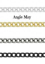 25 FEET! Non-Tarnish Aluminum 6x4mm Jewelry Curb Chain ~ Pick your finish!