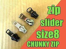 Zipper slider-Chunky Zip Taille 8-argent métal noir pistolet Zip Slider Zip Repair