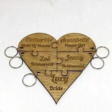 Bridesmaid Jigsaw Key Ring Wedding Bridal Personalised Keyring Party Gift