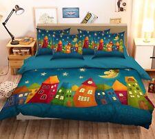 3D Cartoon Moon Town 632 Bed Pillowcases Quilt Duvet Cover Set Single Queen Ca