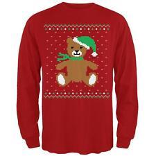 Ugly Christmas Sweater Big Teddy Bear Red Adult Long Sleeve T-Shirt