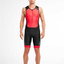 2XU Mens Eseguire Zip frontale Trisuit Nero Sport Triathlon Traspirante Leggero