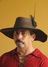 Medieval Celtic Renaissance SCA Larp Leather Adventurer Hat wt Pheasant Feather