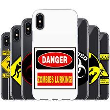 dessana Zombies Warnschilder TPU Silikon Schutz Hülle Case Handy Cover für Apple