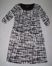 NEW Womens PERCEPTIONS Black Ivory Crew Neck Knee Length Sweater Dress Sz Small