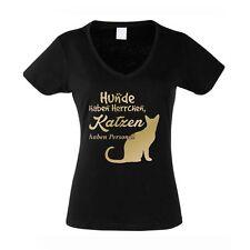 Damen V-AUSSCHNITT T-Shirt -- Hunde haben Herrchen, Katzen haben Personal