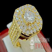 LADIES GOLD FINISH LAB DIAMOND SOLITAIRE ETERNITY WEDDING ENGAGEMENT RING BAND