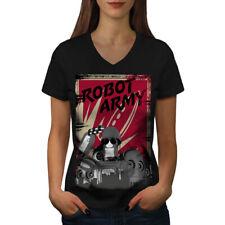 Army Funny Robot Geek Women V-Neck T-shirt NEW | Wellcoda