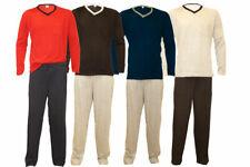 Herren Schlafanzug Langarm Lange Hose Pyjama 2teiler V-Kragen M L XL XXL 48-62
